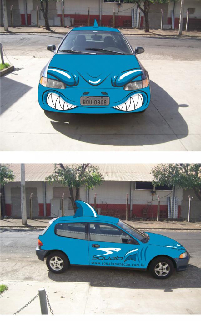 squalo-natação-carro-tubarao